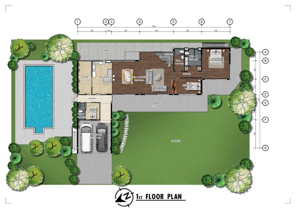 Chiang Mai Luxury Private Pool Villa | Floor Plan for the 1st Floor