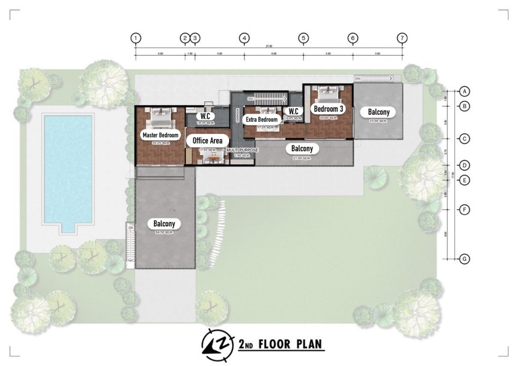 Chiang Mai Luxury Private Pool Villa | Floor Plan for the 2nd Floor