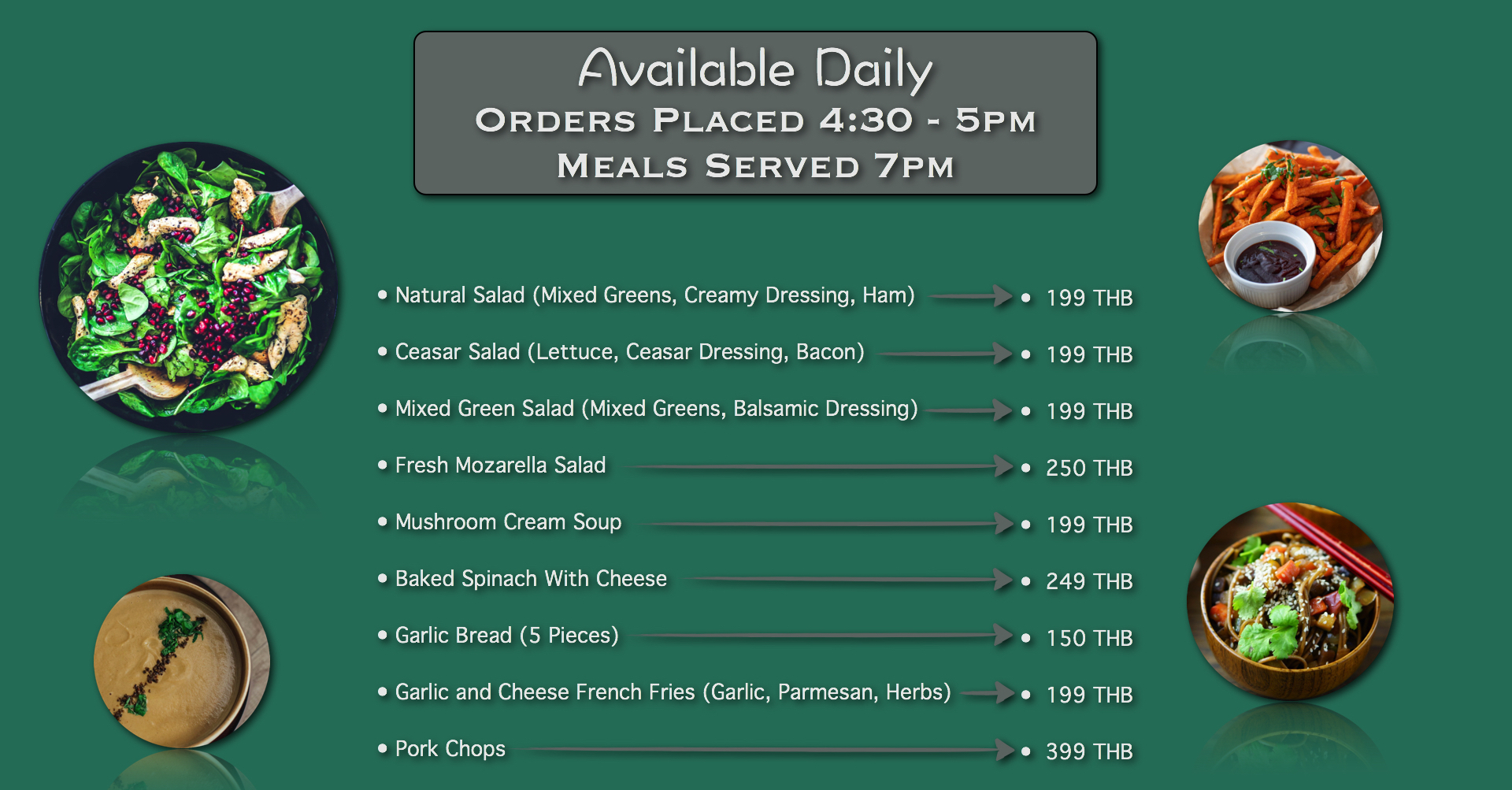 Chiang Mai Luxury Private Pool Villa Lunch and Dinner Menu Page 1